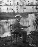 Santiago Rusiñol painting houses by the Onyar River in Girona. Unknown author, 1905-1915 © AFB