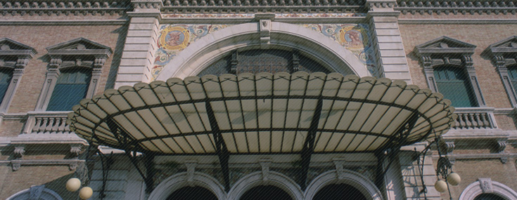 Rafael Peyroncely, 1907. Partial view of the Cartagena train station façade (© Ayuntamiento de Cartagena)